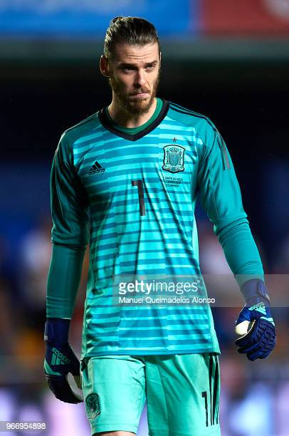 David de Gea of Spain looks on during the International Friendly match between Spain and Switzerland at Estadio de La Ceramica on June 3 2018 in...