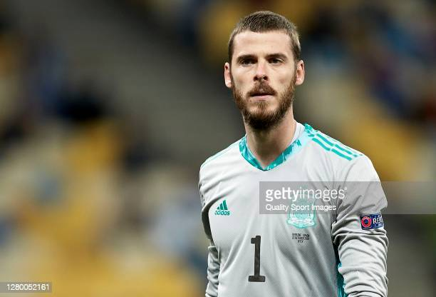 David de Gea of Spain looks on during the UEFA Nations League group stage match between Ukraine and Spain at NSK Olmpiyskiy on October 13, 2020 in...