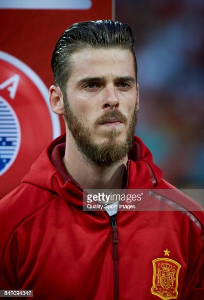 David De Gea of Spain looks on prior the FIFA 2018 World Cup Qualifier between Spain and Italy at Estadio Santiago Bernabeu on September 2 2017 in...