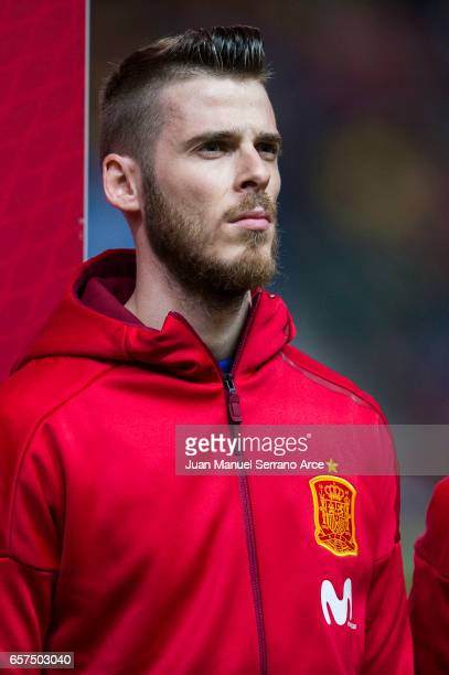 David de Gea of Spain looks on prior to the FIFA 2018 World Cup Qualifier between Spain and Israel at Estadio El Molinon on March 24 2017 in Gijon...
