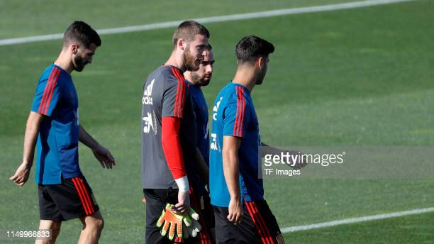 David De Gea of Spain Marco Asensio of Spain and Dani Carvajal of Spain look on during a Spain international training session at Las Rozas sports...