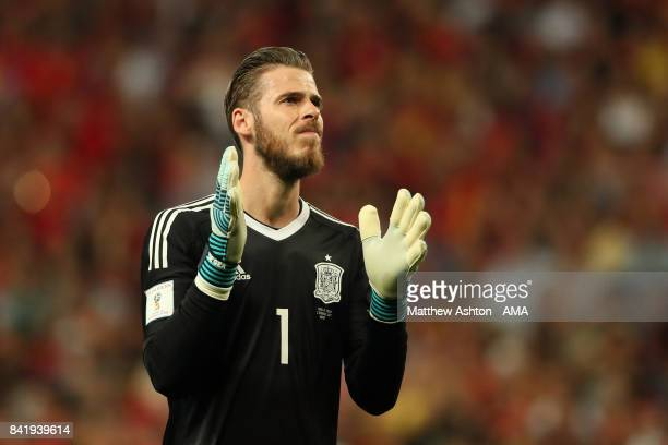 David de Gea of Spain reacts during the FIFA 2018 World Cup Qualifier between Spain and Italy at Estadio Santiago Bernabeu on September 2 2017 in...
