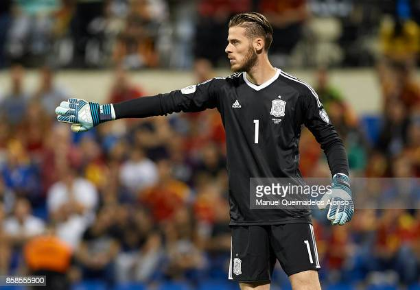 David De Gea of Spain reacts during the FIFA 2018 World Cup Qualifier between Spain and Albania at Rico Perez Stadium on October 6 2017 in Alicante...