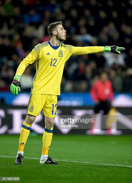 David De Gea of Spain reacts during the international friendly match between Italy and Spain at Stadio Friuli on March 24 2016 in Udine Italy