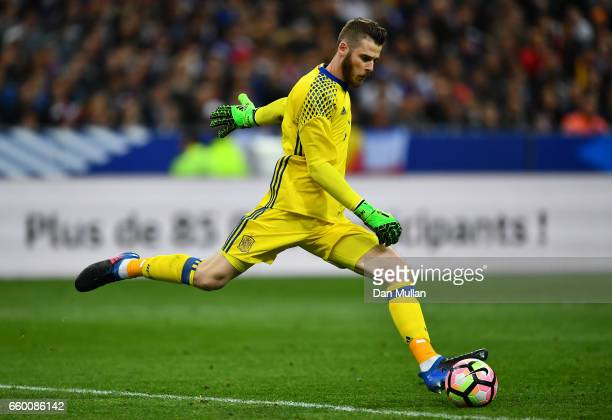 David de Gea of Spain sends the ball upfield during the International Friendly match between France and Spain at the Stade de France on March 28 2017...