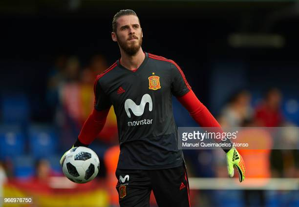 David de Gea of Spain warm up during the International Friendly match between Spain and Switzerland at Estadio de La Ceramica on June 3 2018 in...