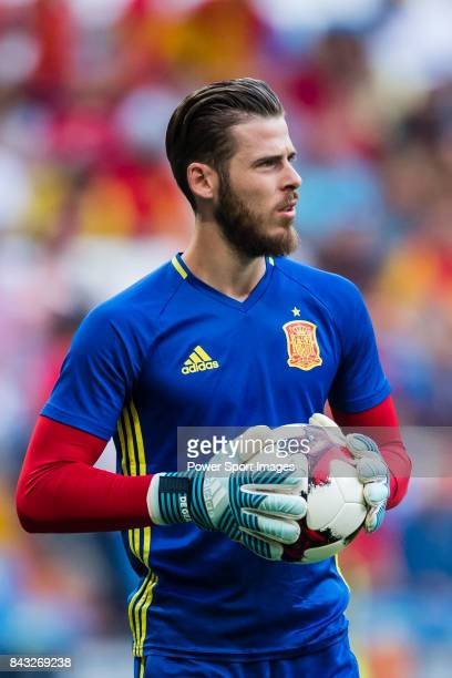 David De Gea of Spain warming during the 2018 FIFA World Cup Russia Final Qualification Round 1 Group G match between Spain and Italy on 02 September...