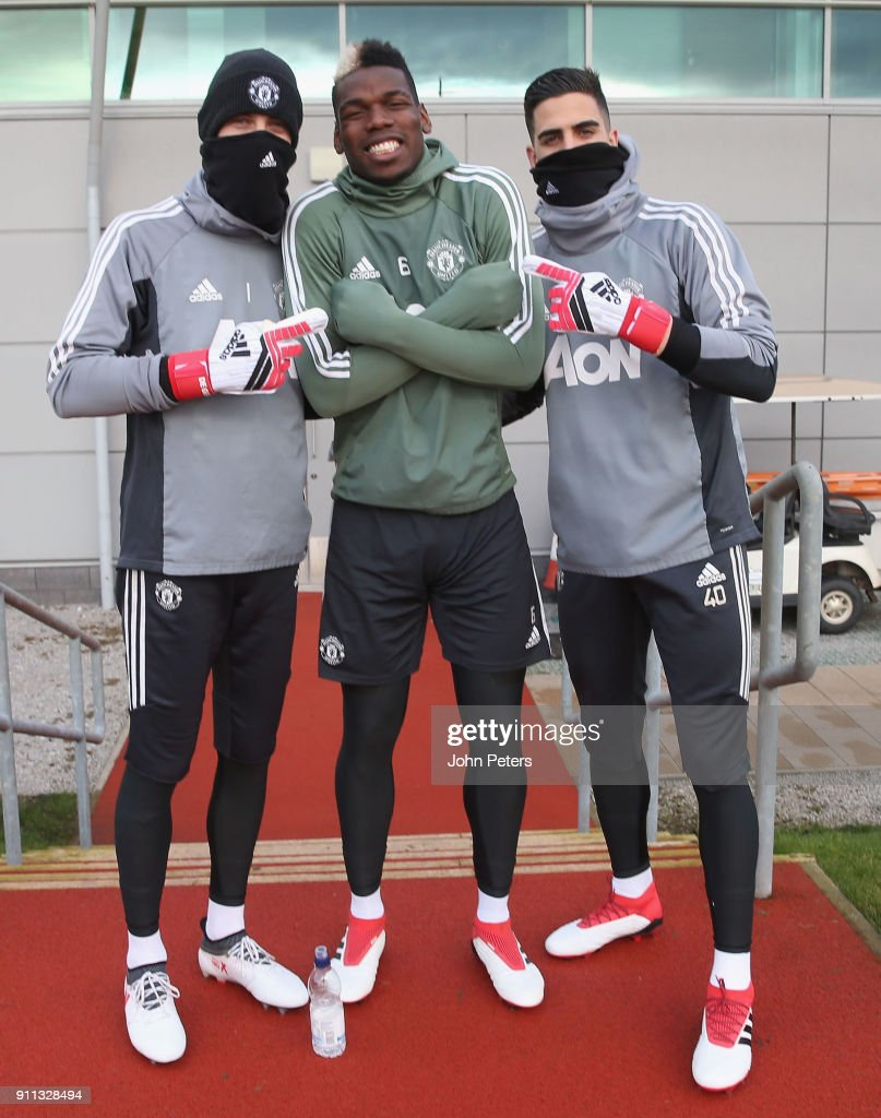 David de Gea, Paul Pogba and Joel Pereira of Manchester United in action during a first team training session at Aon Training Complex on January 28, 2018 in Manchester, England.