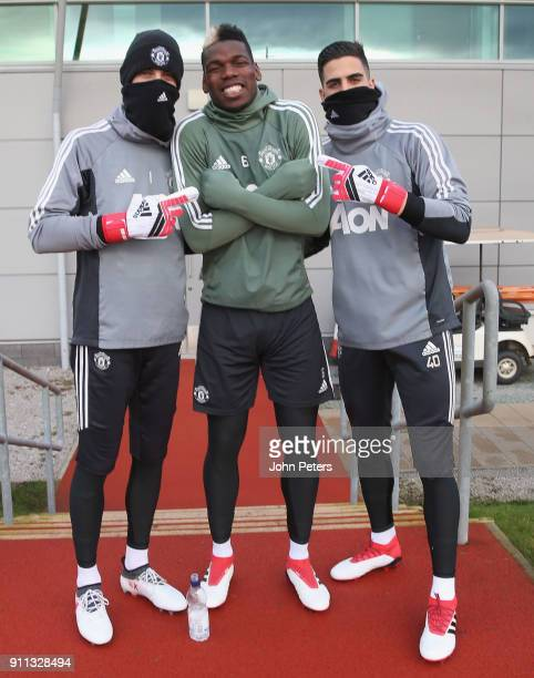 David de Gea Paul Pogba and Joel Pereira of Manchester United in action during a first team training session at Aon Training Complex on January 28...
