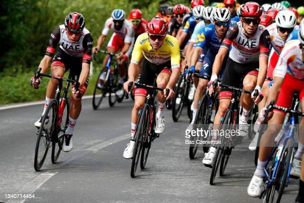David De La Cruz Melgarejo, Marc Hirschi of Switzerland yellow leader jersey and Davide Formolo of Italy and UAE Team Emirates compete during the...