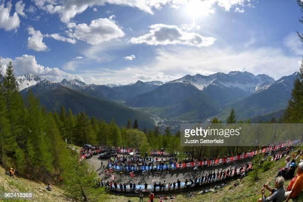 David de la Cruz of Spain and Team Sky / Giulio Ciccone of Italy and Team Bardiani CSF blue mountain jersey / Peloton / Landscape / Mountains / Snow...