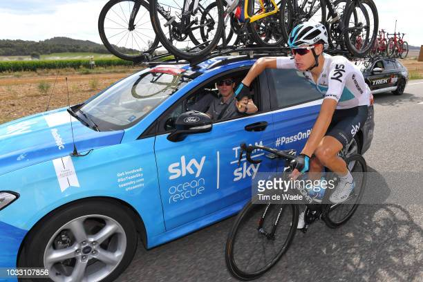 David De La Cruz of Spain and Team Sky / Nicolas Portal of France Sports Director / Feed Zone / Car / during the 73rd Tour of Spain 2018 Stage 19 a...