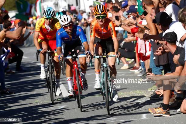 David De La Cruz of Spain / Gianluca Brambilla of Italy / Sam Oomen of The Netherlands / during the Men Elite Road Race a 2585km race from Kufstein...