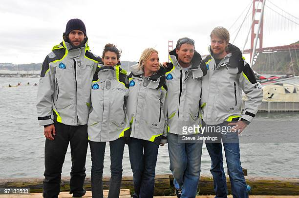 David de Rothschild and crew at the Plastiki unveiling on February 26 2010 in Sausalito California De Rothschild a British explorer plans to sail...