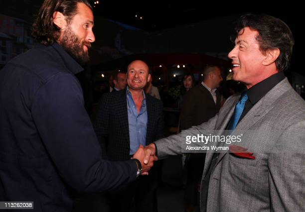 David de Rothschild and Sylvester Stallone at IWC Schaffhausen Peter Lindbergh's Portofino held at Culver Studios on April 28 2011 in Culver City...