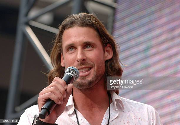 David de Rothschild Author of The Live Earth Global Warming Survival Handbook during Live Earth New York at Giants Stadium on July 7 2007 in East...
