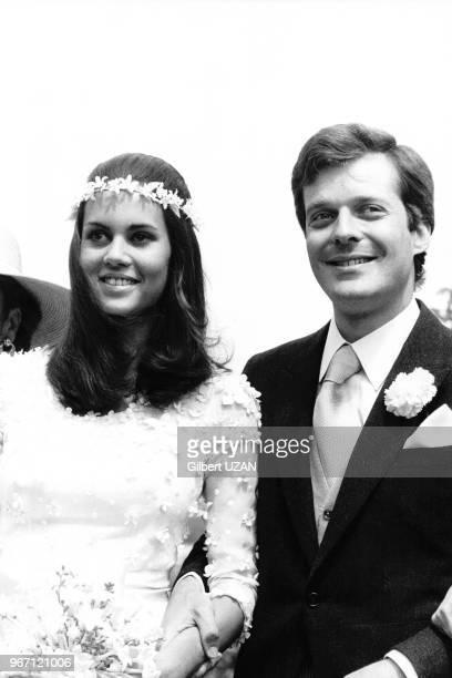 David de Rothschild fils du baron et de la baronne Guy et Alix de Rothschild se marie avec Olimpia Aldobrandini le 29 juin 1974 à Reux France