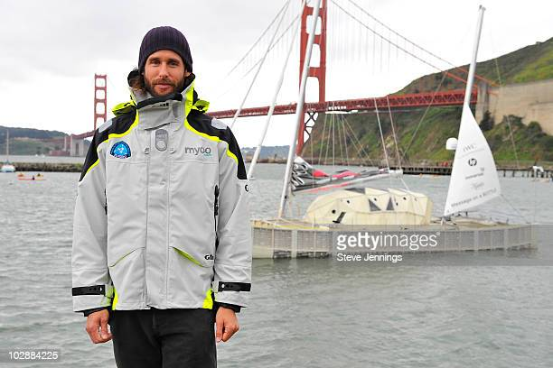 David de Rothschild in front of the Plastiki unveiling on February 26 2010 in Sausalito California De Rothschild a British explorer plans to sail...