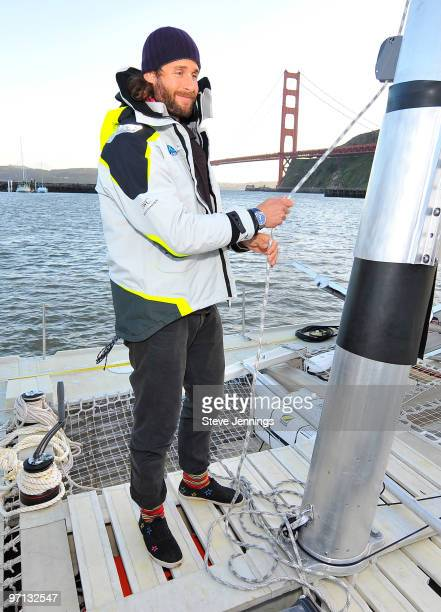 David de Rothschild on board the Plastiki at the unveiling on February 26 2010 in Sausalito California De Rothschild a British explorer plans to sail...