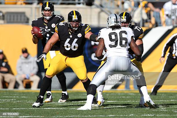 David DeCastro of the Pittsburgh Steelers in action during the game against the Oakland Raiders at Heinz Field on November 8, 2015 in Pittsburgh,...
