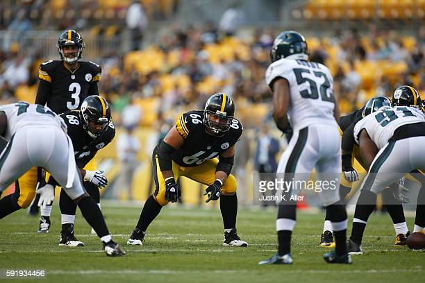 David DeCastro of the Pittsburgh Steelers in action during the game against the Philadelphia Eagles on August 18, 2016 at Heinz Field in Pittsburgh,...