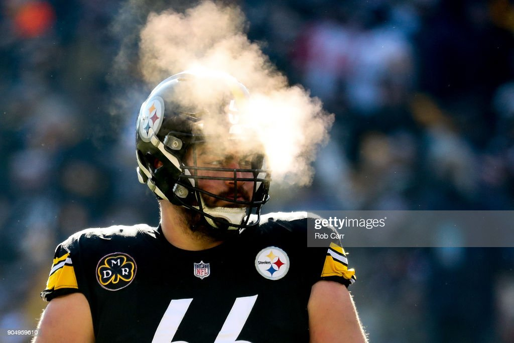 David DeCastro #66 of the Pittsburgh Steelers looks on against the Jacksonville Jaguars during the first half of the AFC Divisional Playoff game at Heinz Field on January 14, 2018 in Pittsburgh, Pennsylvania.