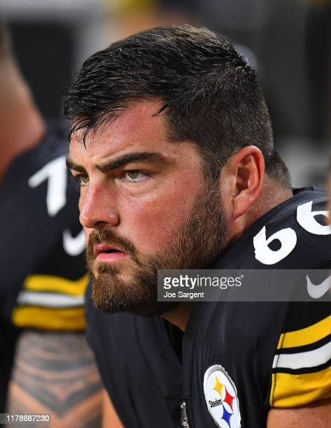 David DeCastro of the Pittsburgh Steelers looks on during the game against the Cincinnati Bengals at Heinz Field on September 30, 2019 in Pittsburgh,...