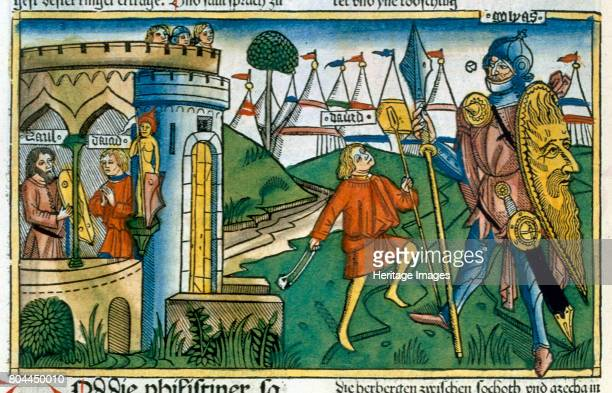 David defeats Goliath and meets Saul Bible scene Facsimile from a 15th century printed book of the German School Artist Unknown