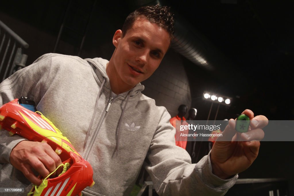 David Degen of the Swiss national football team poses during the adidas adizero F50 miCoach launch event at Miller studio on November 7, 2011 in Zurich, Switzerland.