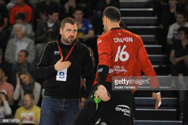 David Degouy assistant coach of Ivry and Francois Xavier Chapon of Ivry during the Starligue Lidl match between Ivry and Nantes on April 12 2017 in...