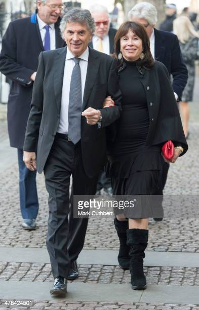 David Dein and Barbara Dein attend a memorial service for Sir David Frost at Westminster Abbey on March 13 2014 in London England