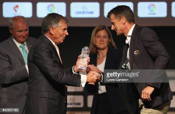 David Dein , The FA former Vice-Chairman presents the Duncan Revie award to Wim Jonk, Cruyff Football CEO, on behalf of Johan Cruyff of the...