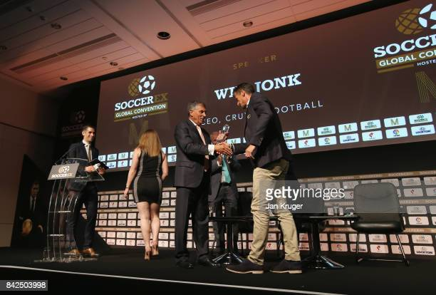 David Dein The FA former ViceChairman presents the Duncan Revie award to Wim Jonk Cruyff Football CEO on behalf of Johan Cruyff of the Netherlands...