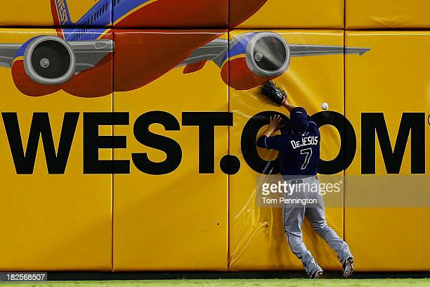 David DeJesus of the Tampa Bay Rays misses a catch during the American League Wild Card tiebreaker game against the Texas Rangers at Rangers Ballpark...