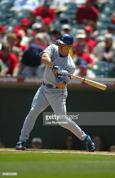 David Dellucci of the Texas Rangers at bat during the game against the Anaheim Angels on April 22 2004 at Angel Stadium in Anaheim California The...