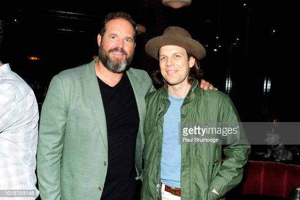"""David Denman and Jake Lacy attend Sony Pictures Classics With The Cinema Society Host The After Party For """"Puzzle"""" at The Roxy Hotel on July 24, 2018..."""