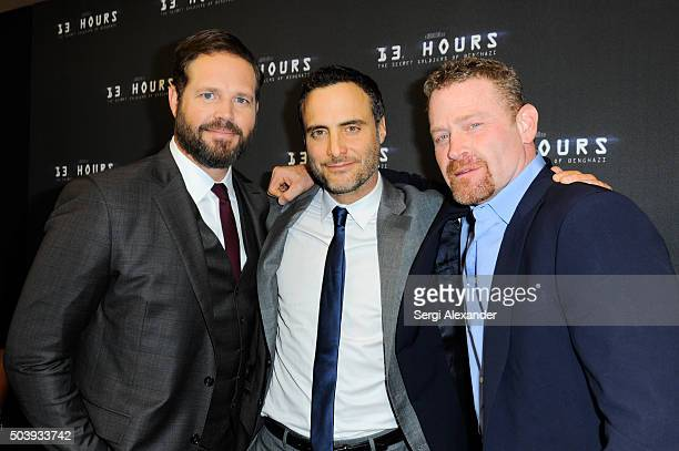 David Denman Dominic Fumusa and Max Martini attend Miami Special Screening of '13 Hours The Secret Soldiers of Benghazi ' at Aventura Mall on January...