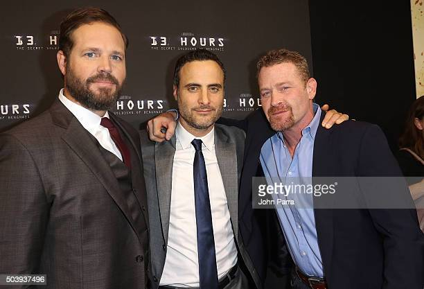David Denman Dominic Fumusa and Max Martini attends the Miami Fan Screening of the Pramount Pictures film '13 Hours' at the AMC Aventura on January 7...
