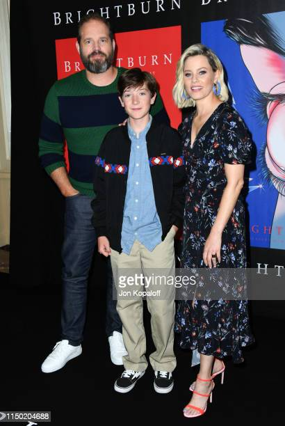 """David Denman, Jackson A. Dunn and Elizabeth Banks attend Sony Pictures' """"Brightburn"""" Photo Call at Four Seasons Los Angeles at Beverly Hills on May..."""