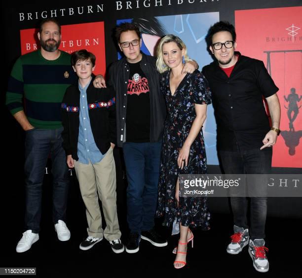 "David Denman, Jackson A. Dunn, James Gunn, Elizabeth Banks and David Yarovesky attend Sony Pictures' ""Brightburn"" Photo Call at Four Seasons Los..."