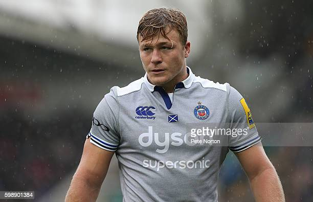 David Denton of Bath in action during the Aviva Premiership match between Northampton Saints and Bath at Franklin's Gardens on September 3 2016 in...