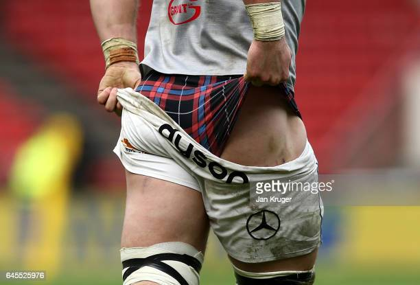 David Denton of Bath Rugby adjusts his shorts during the Aviva Premiership match between Bristol Rugby and Bath Rugby at Ashton Gate on February 26...