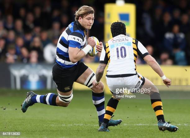 David Denton of Bath takes on Danny Cipriani during the Aviva Premiership match between Bath and Wasps at the Recreation Ground on March 4 2017 in...