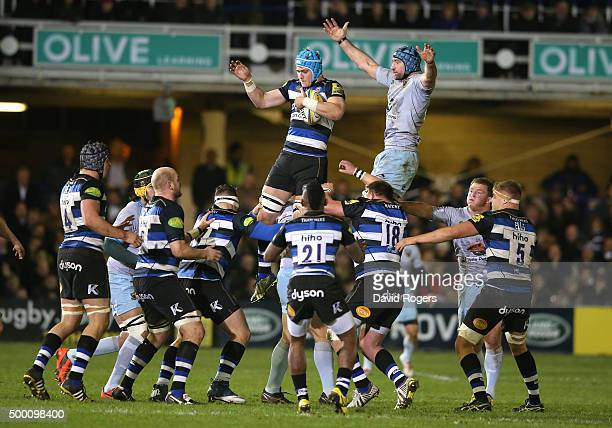 David Denton of Bath wins the lineout ball during the Aviva Premiership match between Bath and Northampton Saints at the Recreation Ground on...