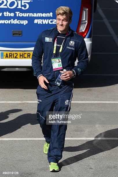 David Denton of Scotland arrives for the 2015 Rugby World Cup Pool B match between Scotland and USA at Elland Road on September 27 2015 in Leeds...