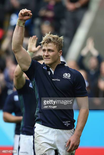 David Denton of Scotland celebrates victory after the 2015 Rugby World Cup Pool B match between Samoa and Scotland at St James' Park on October 10...