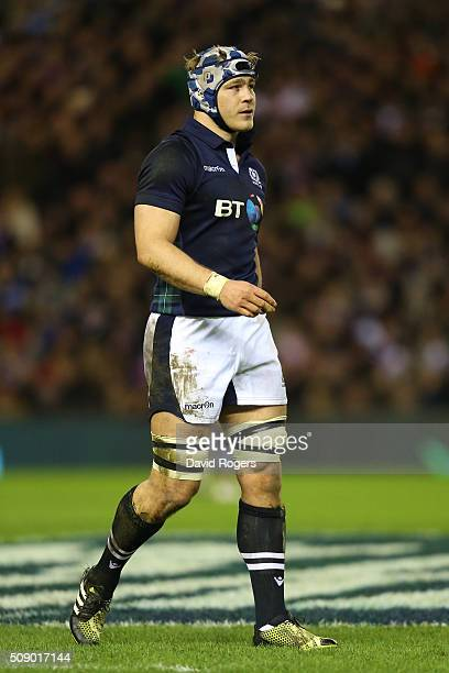 David Denton of Scotland in action during the RBS Six Nations match between Scotland and England at Murrayfield Stadium on February 6 2016 in...