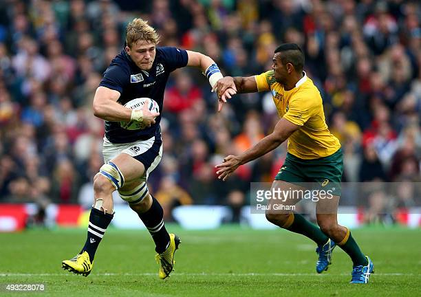 David Denton of Scotland takes on Kurtley Beale of Australia during the 2015 Rugby World Cup Quarter Final match between Australia and Scotland at...