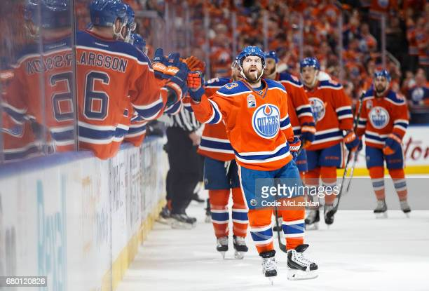 David Desharnais of the Edmonton Oilers celebrates a goal against the Anaheim Ducks in Game Six of the Western Conference Second Round during the...