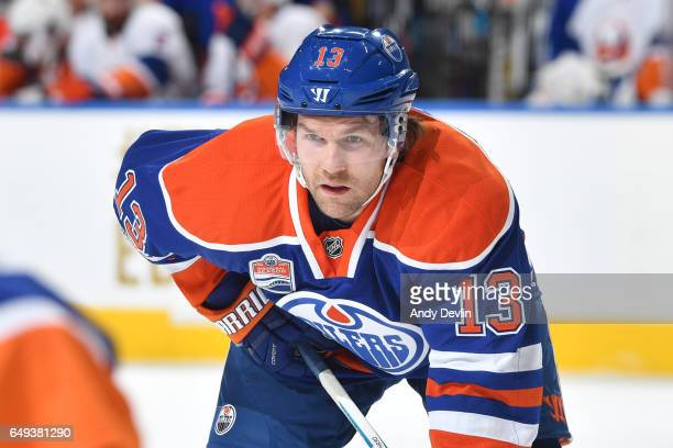 David Desharnais of the Edmonton Oilers lines up for a face off during the game against the New York Islanders on March 7 2017 at Rogers Place in...